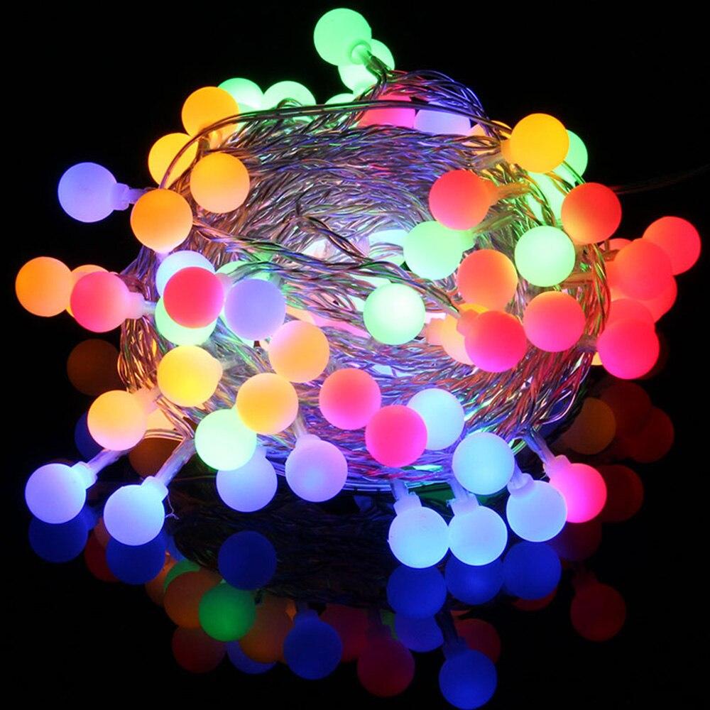 10M 10LEDs Outdoor LED Light String Balls 220V EU Plug Wedding Christmas Fairy String Lights Outdoor Garland Decoration 2 5m 10leds ghost led string lights halloween decoration