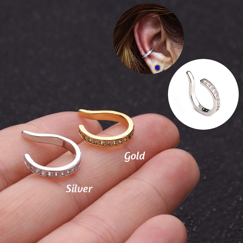 10mm Fake Piercing Helix Cartilage Conch Ear Cuff No Piercing Conch Cuff Earring