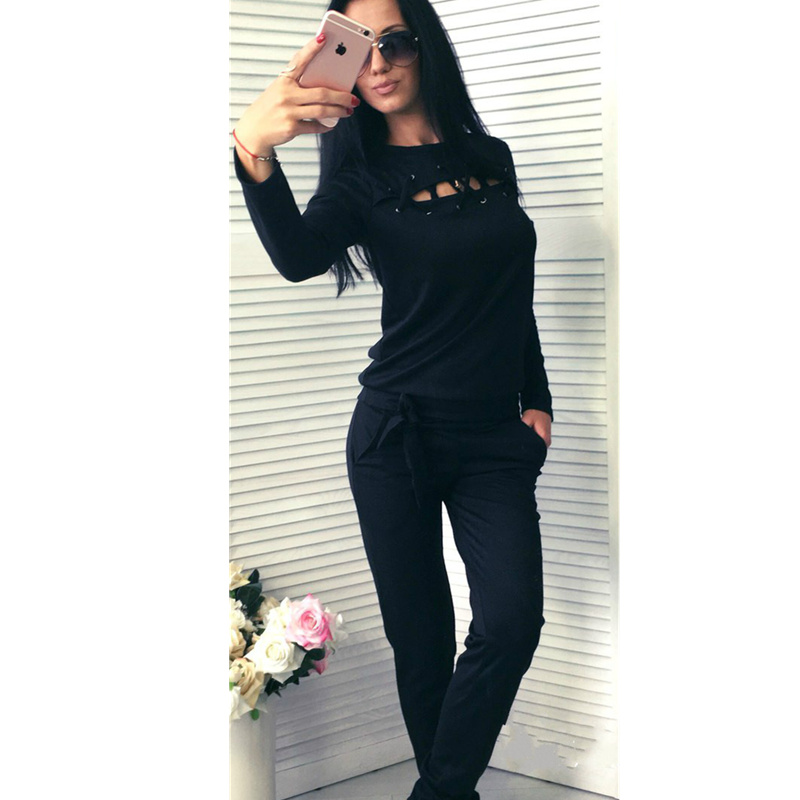 Women Tracksuits 2017 Sexy Two Piece Set Women Suits Casual Wear Suit Set O Neck Drawstring Solid Bow Black Knitted Tracksuit
