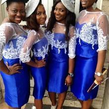 2017 Blue Bridesmaid Dresses Scoop Half  Appliques Satin Knee-Length Lace Cap Sleeve Bridesmaid Dresses Robe Demoiselle Honneur