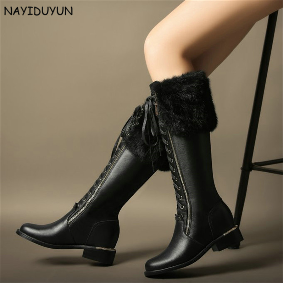 NAYIDUYUN    Fashion Women Rabbit Fur Lace Up All Cow Leather Knee High Riding Boots Round Toe High Heels Party Pumps Shoes nayiduyun new fashion thigh high boots women genuine leather round toe knee high boots high heel party pumps casual shoes