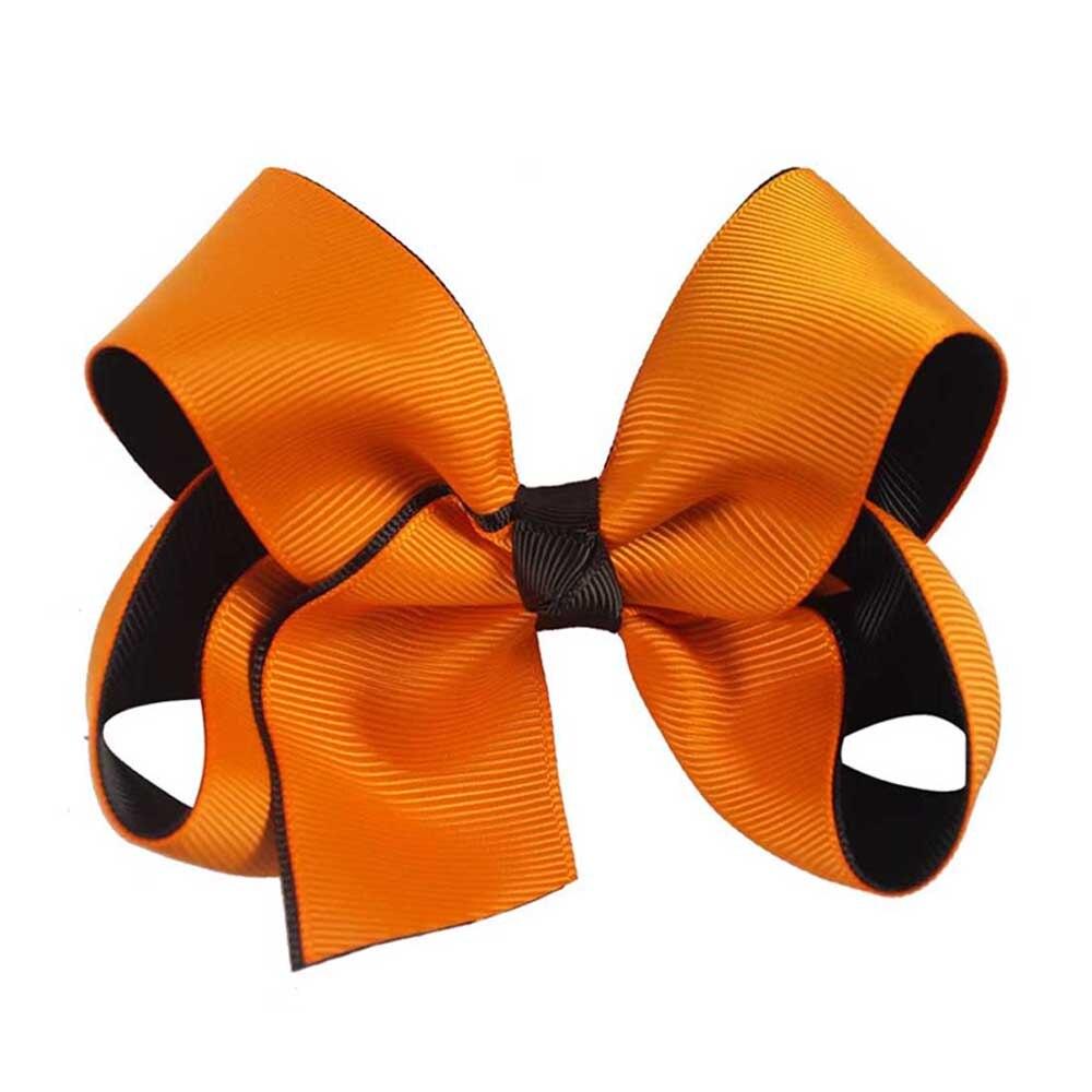 Girls Handmade Orange Ribbon Alligator Hair Bow Clips For Toddlers Little Girls! Halloween Decoration