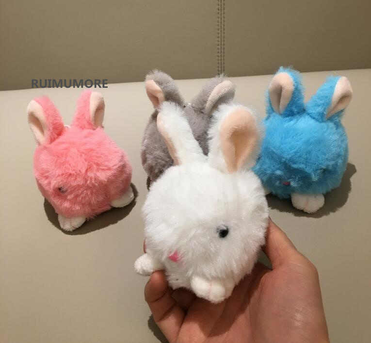 4Colors Choice -  9CM Approx. Fluffy Rabbit Plush Stuffed TOY DOLL , key chain Pendant Plush DOLL TOY