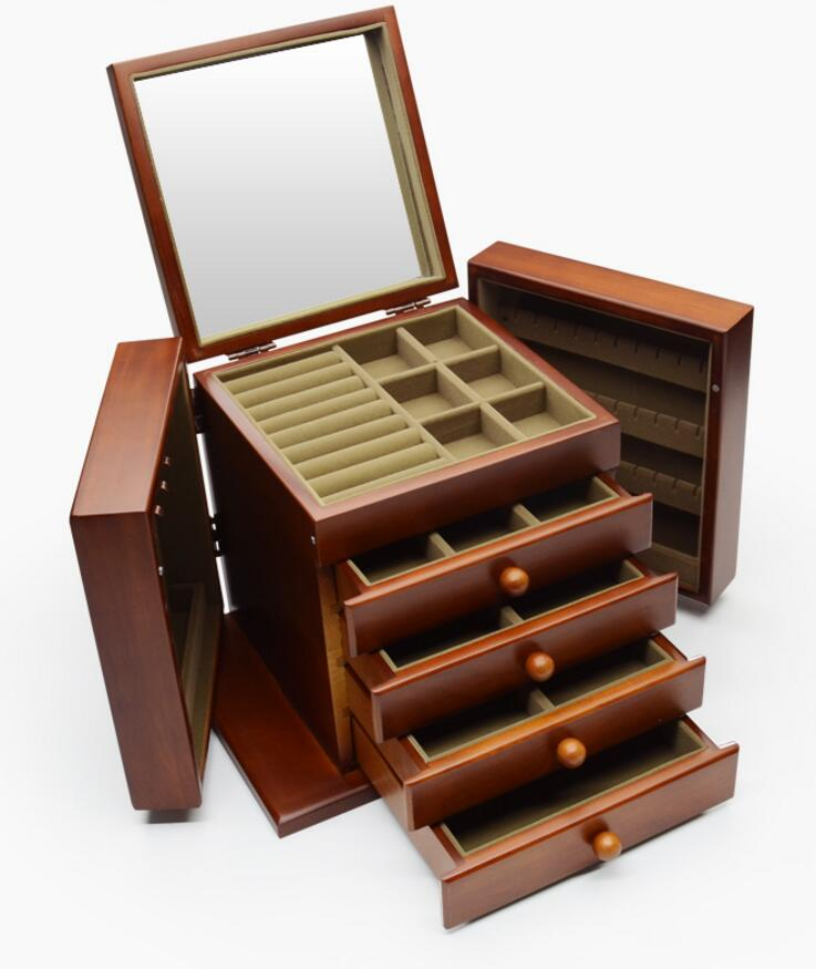 Retro Style Wooden Jewellery Storage Box Necklace Ring Display Cabinet Gift NEW