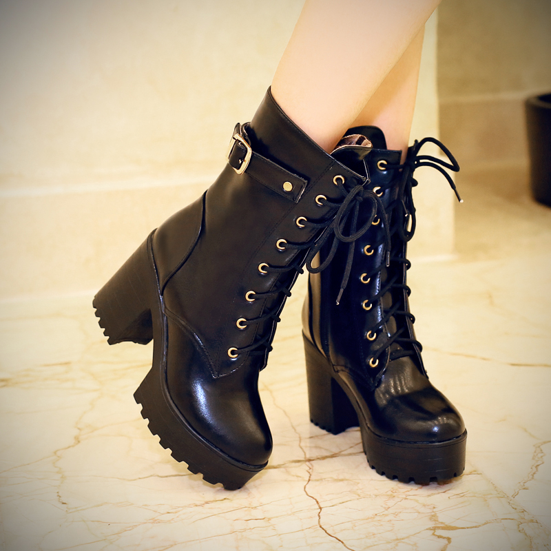 2018 Black Brown Comfortable PU Lace-up Women boots Square heels High heels Mid-calf Shoes woman рюкзак case logic 17 3 prevailer black prev217blk mid