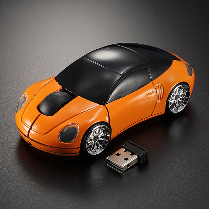 20pcs a lot # Racing car 2.4Ghz 1600DPI 10m Wireless Car Shape Colorful USB LED Optical Mouse Mice For PC Laptop Note book