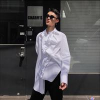Lace button double collar shirt breathable comfort men and women with the shirt hairstylist irregular nightclub singer shirts
