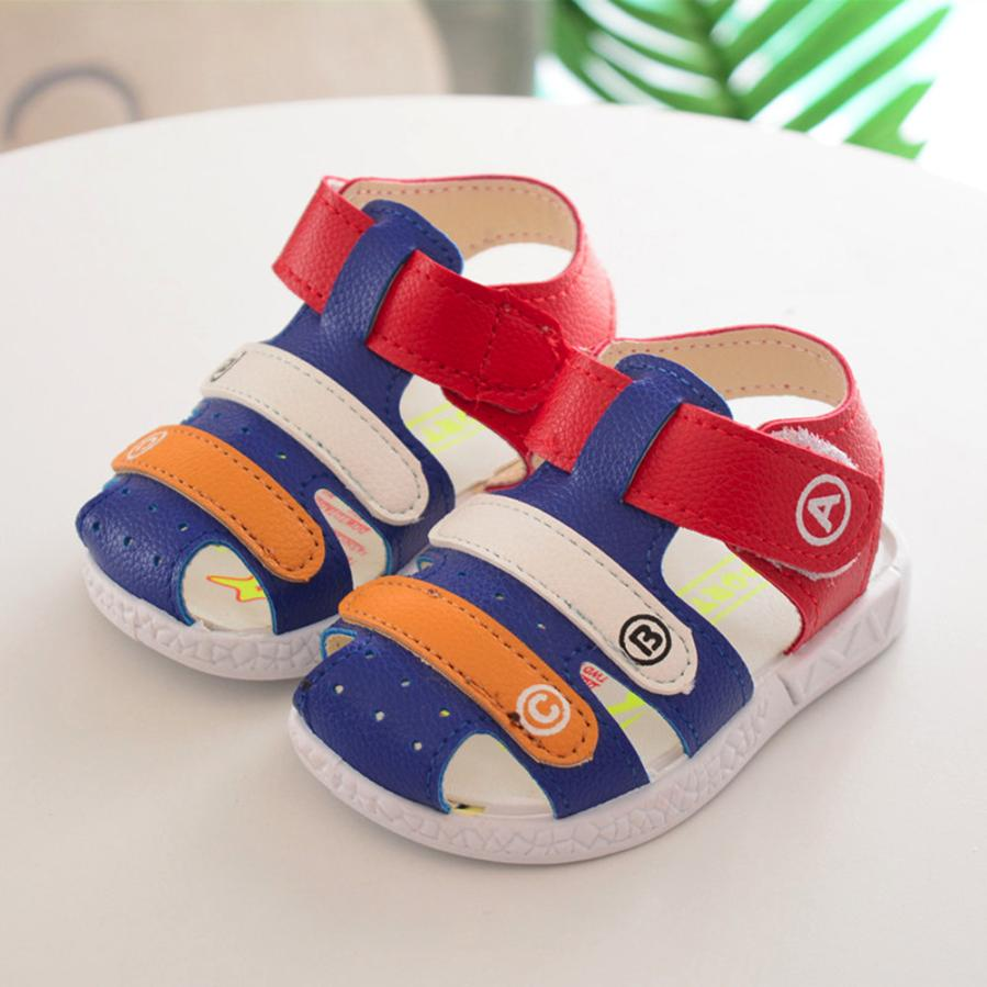 Summer Shoes Boys Soft Leather Sandals Baby Boys Summer Soft Sole Genuine Leather Beach Sandals Cherryb