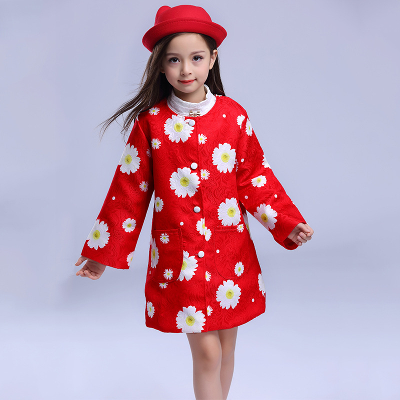 2017 new girls long coat wind children printed jacket Outwear girls clothes Fall children' s clothing 3 4 5 6 7 8 9 years old children s spring and autumn girls bow plaid child children s cotton long sleeved dress baby girl clothes 2 3 4 5 6 7 years