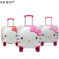 children 3D hello kitty girls trolley suitcase spinner wheels carry on rolling luggage kids cartoon cute cabin travel suitcase