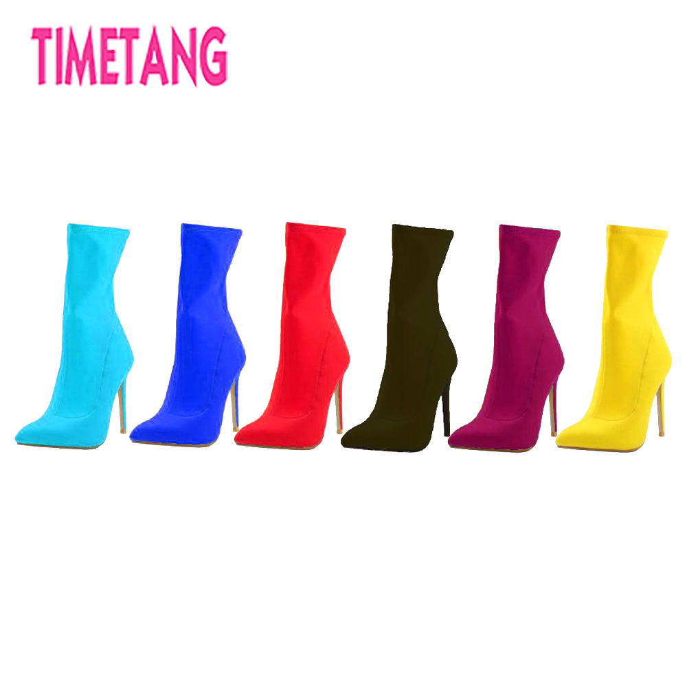TIMETANG 2018 Latest Fashion Classic Pointed Toe Concise Ankle Women Boots Elegant Lady shoes Street Style/All Match boots women s ankle boots strappy pointed toe vogue comfy all match shoes