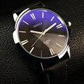 Marca de moda de los hombres de Negocios casual simple PU luminou clásico superior extra grande watchdial impermeable masculino reloj de pulsera de cuarzo