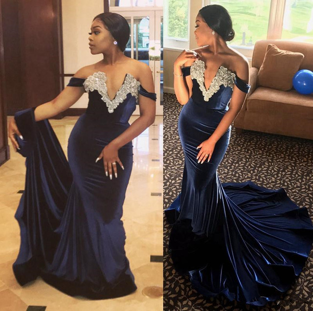 7f5c6ade4561d Fashion African Evening Dresses 2017 Sexy Off Shoulder Appliques Beaded  Mermaid Velvet Prom Dresses Black Girls