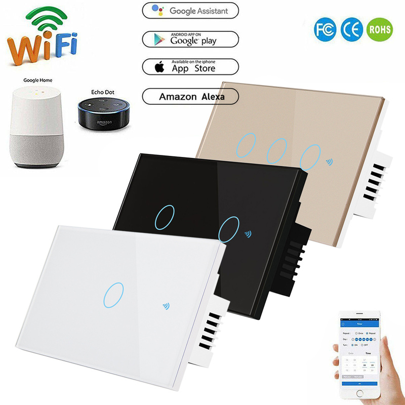 120 Style 1/2/3 Gang Wireless Touch Switch 220v Wall Light Switch Standard Wireless Smart Home Switch Home Automation
