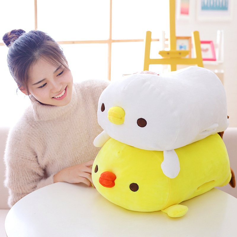 1pc 60cm cute down cotton yellow chicken hand warmer plush toys stuffed soft cartoon animal dolls for children baby winter gift
