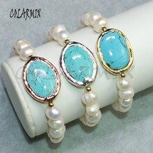 5 peças de água doce pérola pulseiras frisado jóias com pedra azul por atacado jóias crafted pulseiras para mulher 9104