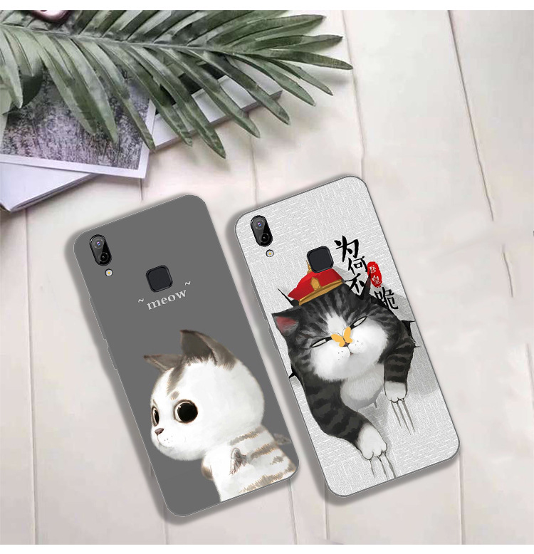 For vivo V9 Youth Case Cute Wolf Cat Painted Soft TPU Back Cover Coque For BBK Vivo V9 V 9 Silicone Protector Phone Cases Y85