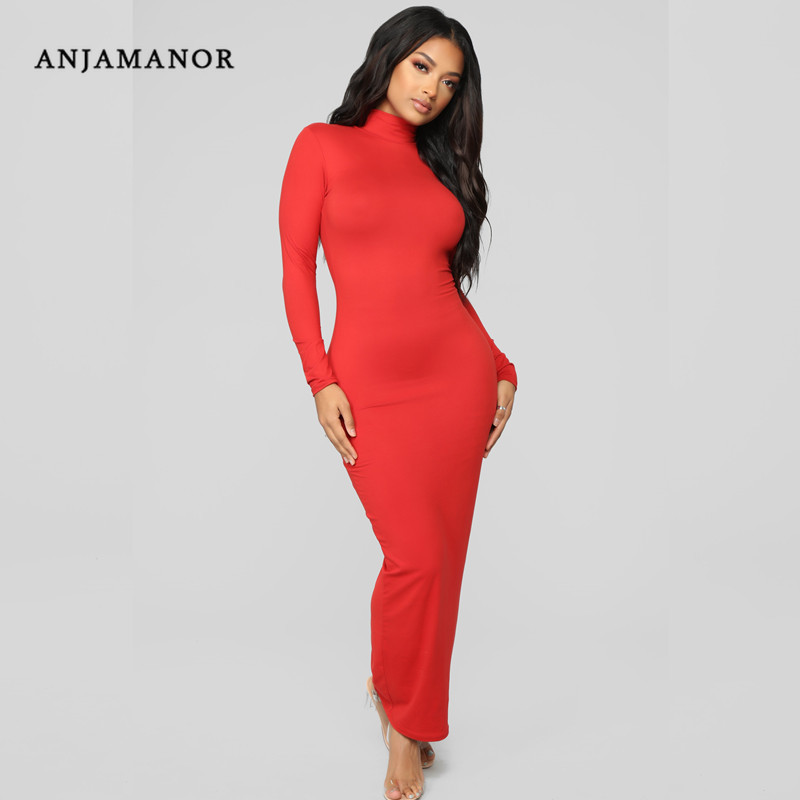 d9d660d09853 ANJAMANOR High Neck Long Sleeve Maxi Bodycon Dress Pencil Red Black Sexy  Dresses Party Night Club