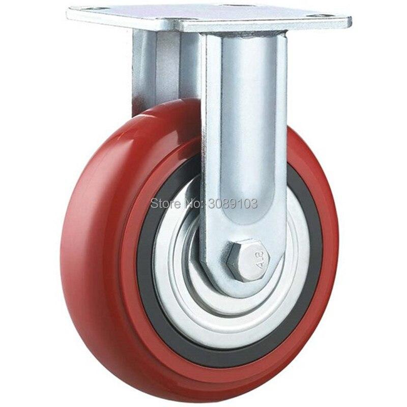1 pcs PVC /PU red Korean heavy duty 4 inch fixed  caster