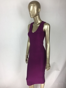 Image 4 - משלוח חינם למעלה איכות סקסית V צוואר כפתור פיצול שחור סגול תחבושת שמלת 2020 סרוג אלסטי אלגנטי ערב מסיבת שמלה