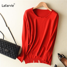 Lafarvie 2019 Hot Sale Cashmere Wool Sweater Women Solid Color Pullover O-neck sweater Long Sleeve Knitted Clothe Casual Outwear