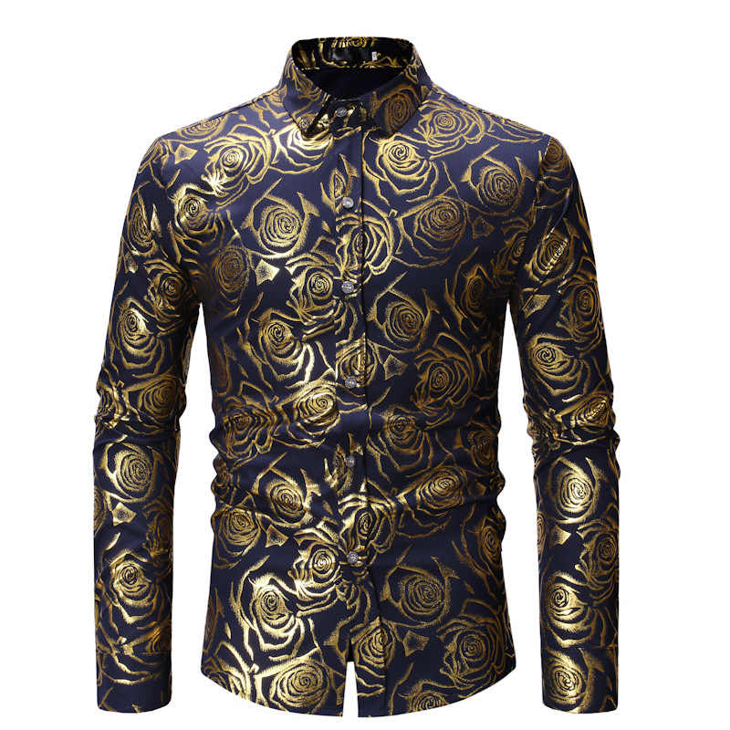 Gold Rose พิมพ์เสื้อผู้ชาย 2019 Luxury Brand Slim Fit ยาวแขนเสื้อ Mens Casual เสื้อ Camisa masculina XL