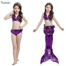 Princess Girls Mermaid tails summer swimsuit costume girls three piece swimming bikini kids beath suits Swimwear 2018 new 3-8 Yr
