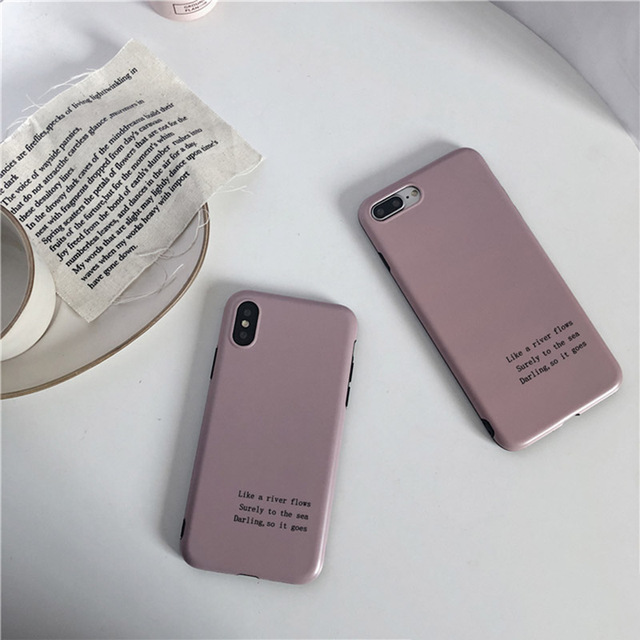 Retro Artistic Letter Soft Cover for iPhone - Lotus Color 1