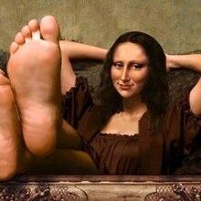 Уоллхевен юморное искусство Мона Лиза ноги украшение дома холст плакат печать