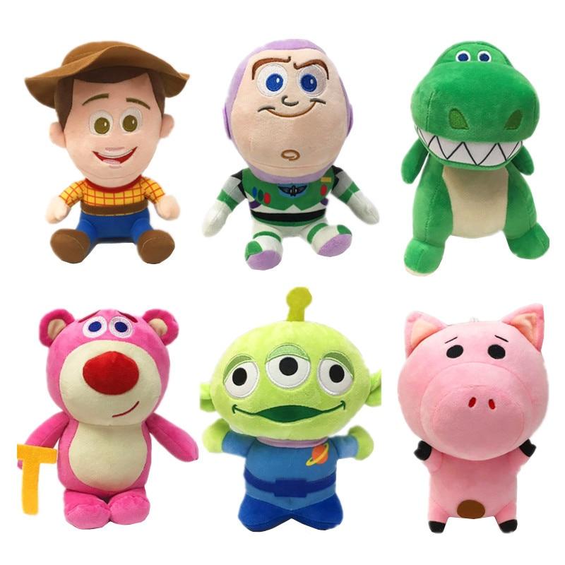 20CM Disney Pixar Toy Story 3 4 Woody Buzz Lightyear Aliens Hamm Dinosaur Plush Toy Stuffed Animal Soft  Doll Toys Children Gift