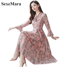 Chiffon dress 2019 Korean version of the autumn new large size women's temperament chiffon printed bow long-sleeved dress(China)