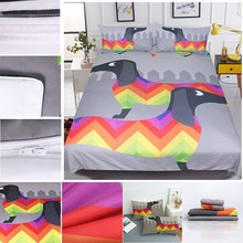 4Pcs 3D Bedding Sets Cotton Linens Colorful Sausage Dog King Queen Full Twin Duvet Cover Set  2pcs Pillowcase Bedclothes F