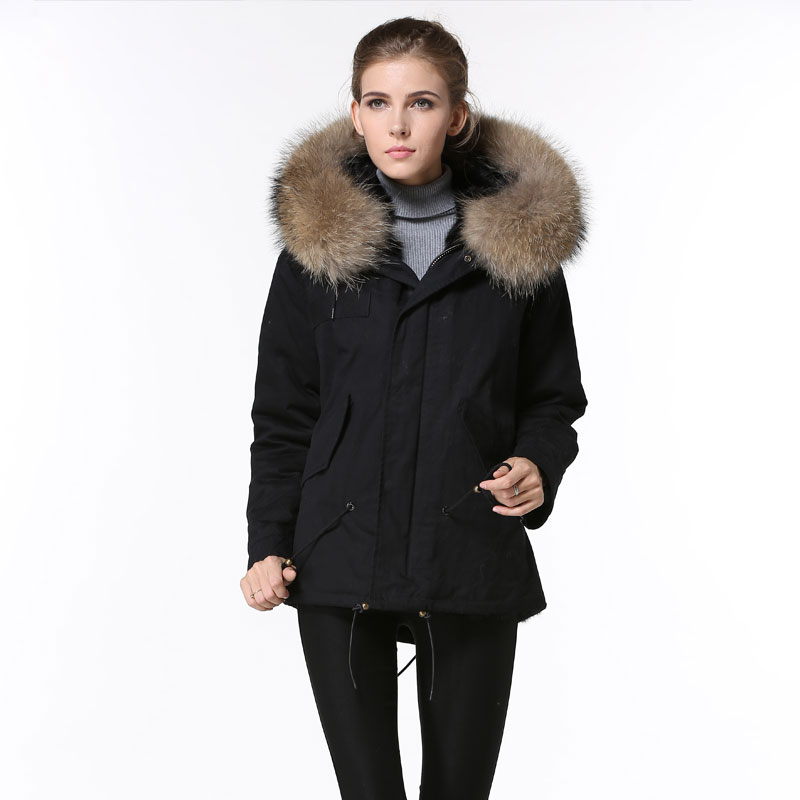 Winter Cool Black Fur parkas women Raccoon fur collar Thick fur Jacket
