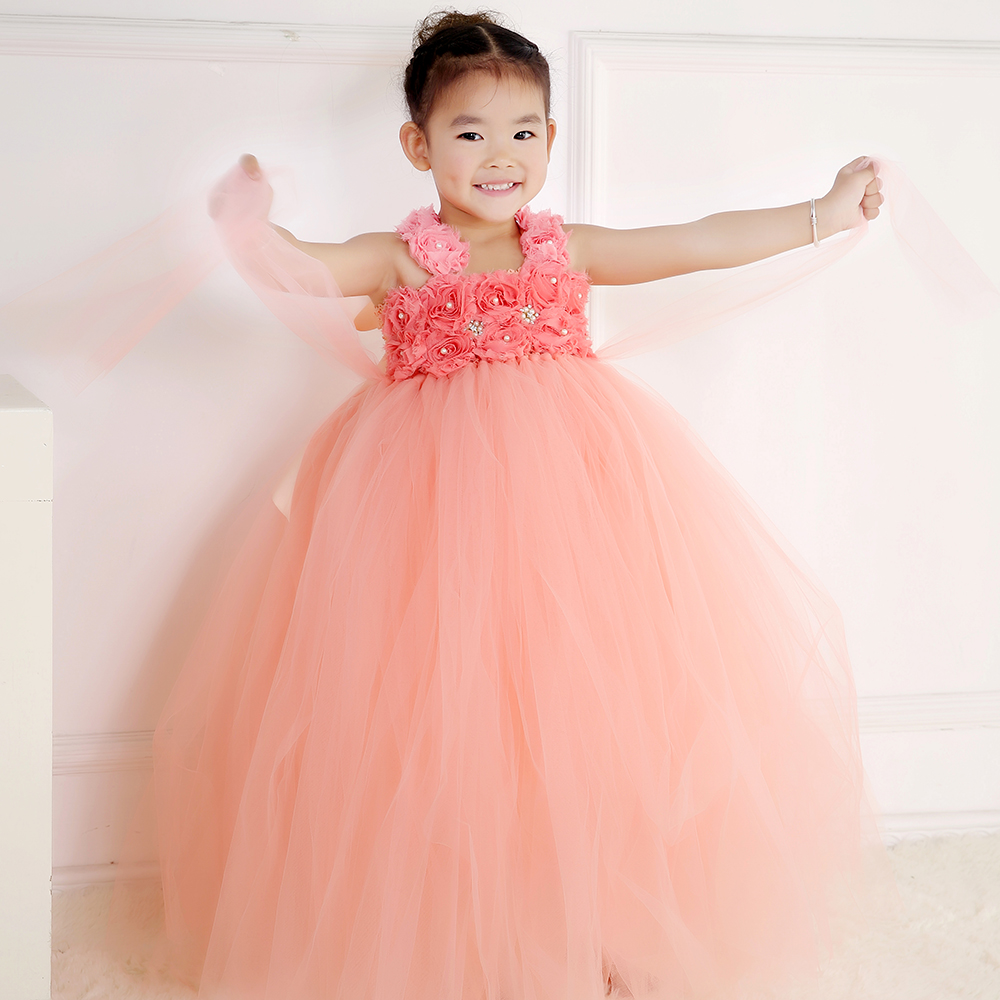 peach color children girls flower tutu dress princess tulle flower