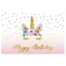 Laeacco Golden Unicorn Birthday Party Star Baby Child Portrait Photography Backdrops Photographic Backgrounds For Photo Studio