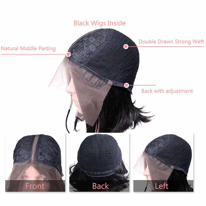Brezilyalı Remy Saç Parçası Dantel Peruk 130% Yoğunluk Orta Kısmı #1B/#613 kısa insan saçı Peruk Ali Kraliçe Saç L Parçası Dantel Peruk