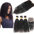 7a Malaysian Curly Hair With Closure 3/4 Bundles Sexy Formula Hair Curly Bundles Malaysian Kinky Curly Virgin Hair With Closure
