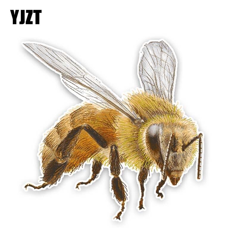 YJZT 14CM*14.1CM Cartoon Creative Bee PVC Sticker Car Decal 12-300844