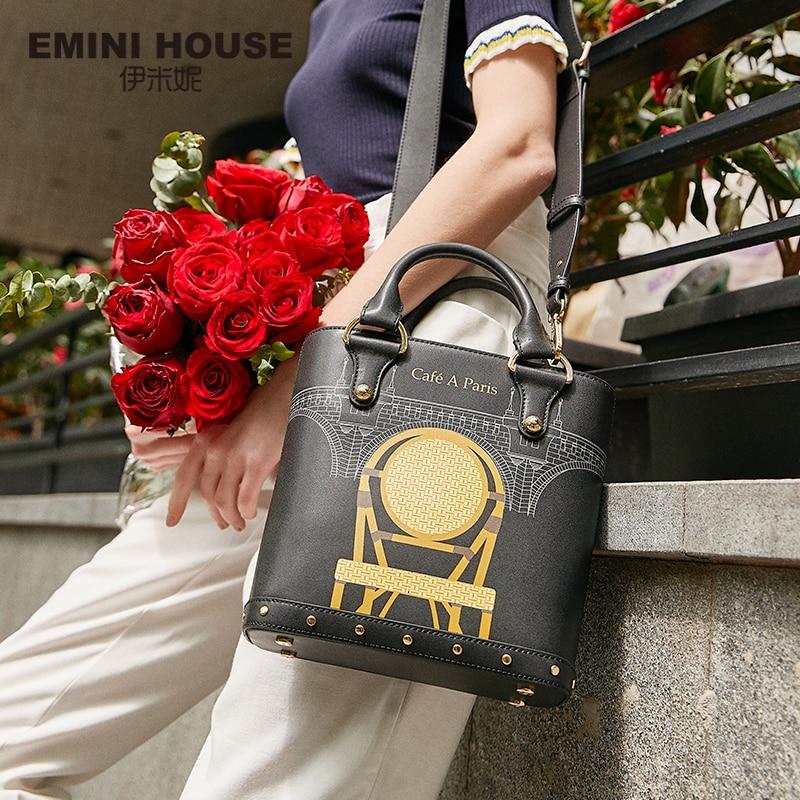 EMINI HOUSE Paris Series Mini Tote Bag For Women Luxury Handbags Women Bags Designer Shoulder Bag Crossbody Bags For Women beach house paris