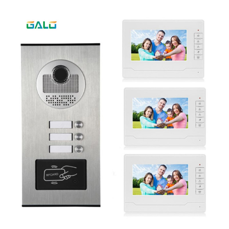 3 buttons apartments video intercom multi apartment building video doorbell with RFID keyfob|  - title=