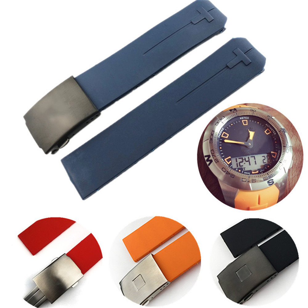 Rubber Watchband For Tissot Watch Strap Sports T-Touch T013420A T047 T33 Bracelet Man Silicone Bracelet 20mm 21mm Orange Black