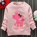 Cotton Children's Clothing 2016 Female Child Autumn T-shirt Cartoon Basic Shirt Girl's Spring And Autumn Outerwear