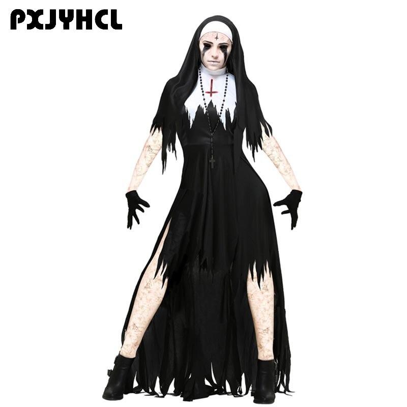 Halloween Nonne Scary Cosplay Kostüm Frauen Schwarz Vampire Fantasie Kleid Terror Schwester Partei Disguise Sets Weibliche Phantasie Für Erwachsene