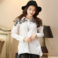 White Loose Large Size Pregnant Women Shirt 2016 New Long Casual Fashion Summer Loose Women Blouses Camisas 166316F