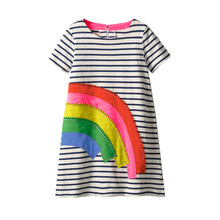 Kids Dresses for Girls Baby Clothes Stripes Girls Dress with Rainbow Applique Summer Princess Party Children Dresses Vestidos цена и фото