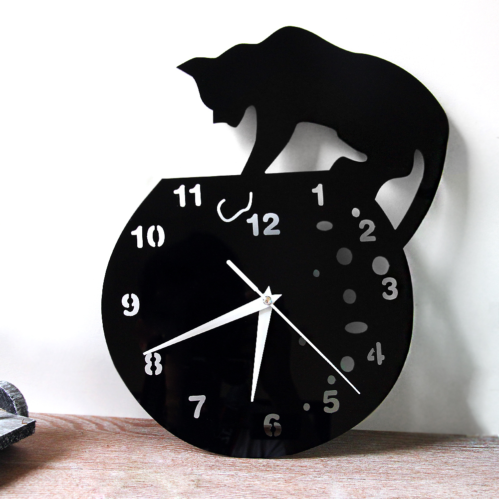 Funlifetm stylish cat on roof acrylic wall clock creative funlifetm stylish cat on roof acrylic wall clock creative designer kids room home decor watch wall 3025cm wc1438 in wall clocks from home garden on amipublicfo Gallery