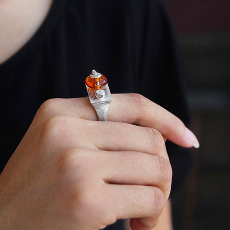 Lotus Fun réel 925 en argent Sterling naturel ambre Original fait à la main Bijoux fins Vintage anneau mignon théière anneaux pour les femmes Bijoux - 4