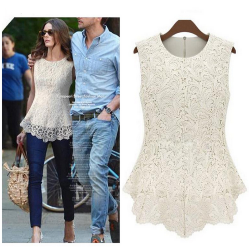 Women White Lace Blouses Shirt Summer Chiffon Blouse Tops Female Cool Blouse Sleeveless Plus Size Women Clothing 4XL 5XL 50
