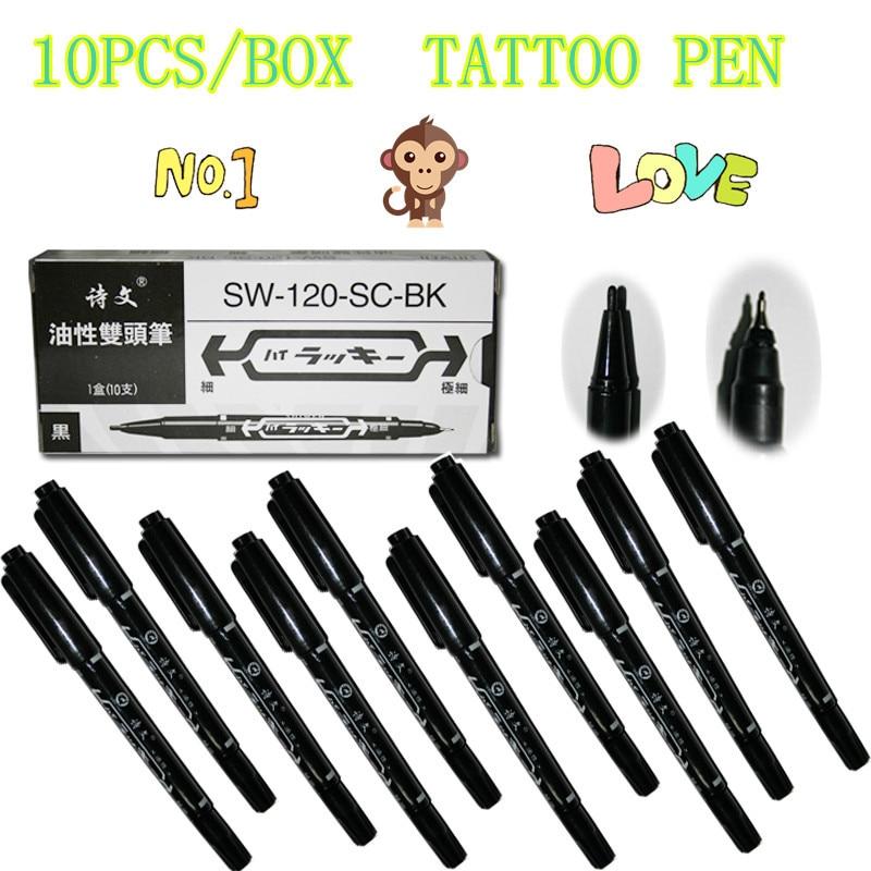 YILONG 10pcs/box Tattoo And Body Art Skin Marker Pen Double Scribe Piercing Pen Supply Free Shipping