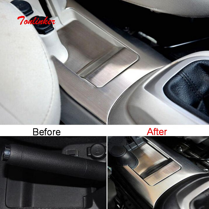 Tonlinker Interior Handbrake Cover Stickers For Citroen C-Elysee/Peugeot 301 Car Styling 2 PCS Stainless Steel Cover Stickers